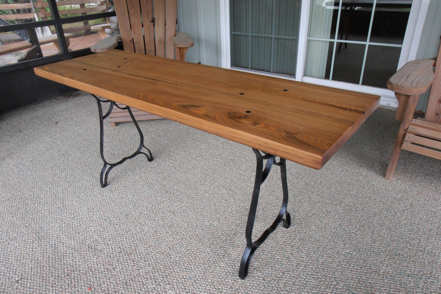 Rustic Wood And Cast Iron Table Console Table Wood And Metal