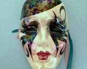 """Sally of New Orleans Mask; Handpainted Item; Small Mask: 5"""" Long by 3.75"""" Wide; 1980s Wall Decor"""