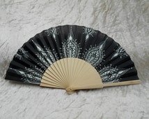 Fan, hand fan, hand decorated fan, contemporary fan, black and silver fan, gift idea, (Mehndi)