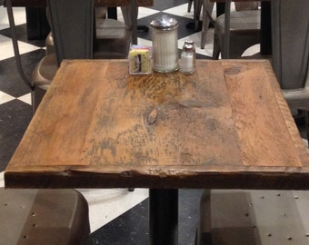 "Dining table top, Reclaimed wood, bar table top,restaurant table top, 24"" x 24"" Add your base to this table top."