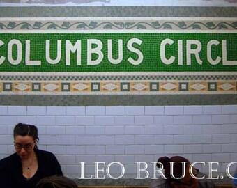 Print,  Subway Scene, Waiting for Subway at Columbus Circle New York City.