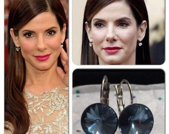 Denim Blue Celebrity Swarovski Rivoli Crystal Leverback French Clip Earrings Wedding Jewelry, Bride, Bridesmaid Gift