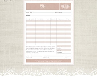 Prints Order Form Template for Photographers - Photographer Business & Client Forms - F02