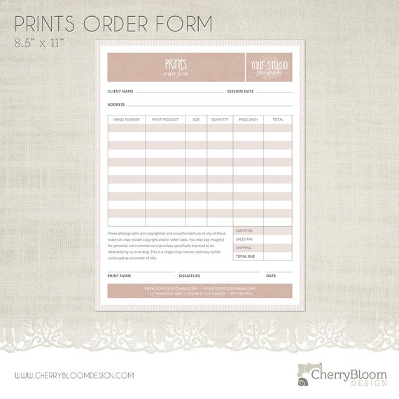 prints order form template for photographers photographer. Black Bedroom Furniture Sets. Home Design Ideas