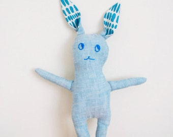 Handmade stuffed animal | bunNY | light blue linen | linen bunny object