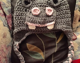 Cute gray with pink hippopautumus crochet hat with earflaps and braids