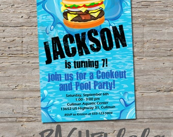 Cookout and Pool Party, Birthday Invitation, Printable, DIY, swim party