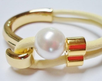 1 Large 16mm White Shell Pearl,  Large hole beads