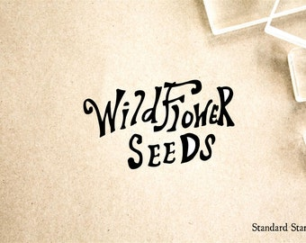 Wildflower Seeds Hand Dran Sign Rubber Stamp - 2 x 2 inches