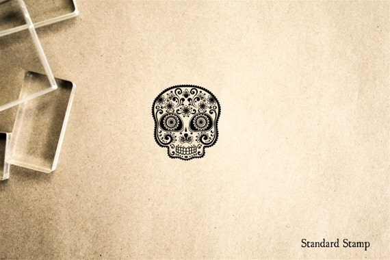 Sugar Skull Rubber Stamp - 1 x 1 inches - My Sugar Skulls