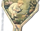 Antique Art Deco Advertising Paper Fan, Little Gardener. Dunn's Dry Cleaners.  1920s Advertising Ephemera