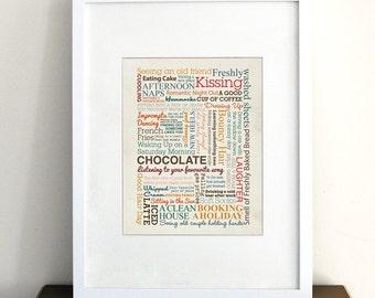 Things Make Me Happy - Typography Print, Inspirational Art Print, Graphic Art Print, Vintage Inspired Wall Art