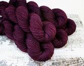 SALE Hand Dyed Superwash Merino Sport Weight Yarn, Burgundy Purple Wine Velvet