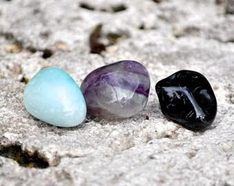 CAPRICORN Set of 3 Crystals | Onyx, Fluorite, Blue Aragonite | Tumbled Gemstone | Astrology Zodiac Meditation Yoga December January Birthday