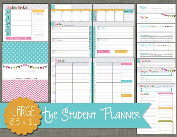 Student planner printable set sized large 8 5 x for Online planner