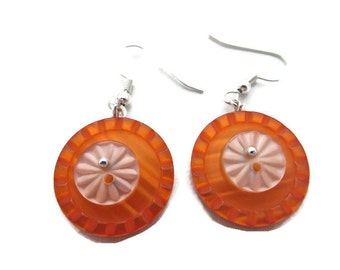 Orange Dangle Earrings, Bright Orange Earrings, Orange Button Earrings, Tangerine Earrings, Orange Drop Earrings,  Upcycled Button Jewelry