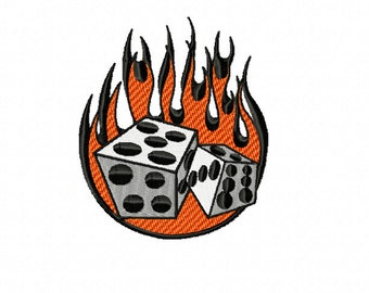 RETRO Flaming Dice ~ Machine Embroidery Design in 2 sizes - Instant Download ~ Dice with Flames