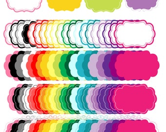 80 colored Digital Frames, Digital Colored Label Frames Borders - Commercial Use - Instant Download - Eps and PNG