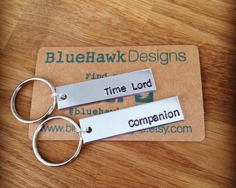 Time Lord and Companion Keychains - gifts for couples - best friend gifts - aluminium keychains - personalised