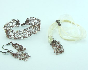Bronze coloured knitted wire jewellery set, Hand knitted necklace, Hand knitted bracelet, Jewellery