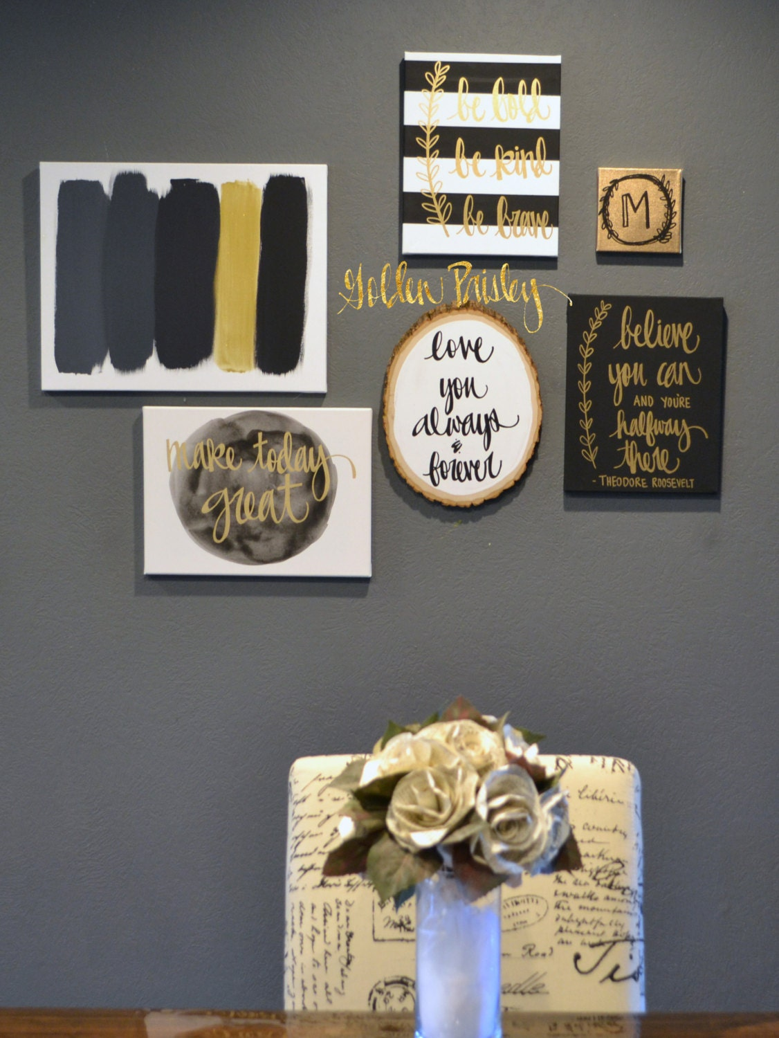 Complete gallery wall 6 piece set black white gold art set - White and gold room decor ...