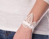 """Lace Bracelet """"LEAF LACE WHITE"""" - Gorgeous Leaf Lace Design & Swarovski Crystal - Spring / Summer Collection (C079)"""