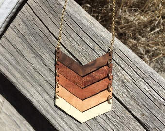 FIVE CHEVRON Necklace // Salvaged WOOD Jewelry // 5 Year Anniversary Necklace