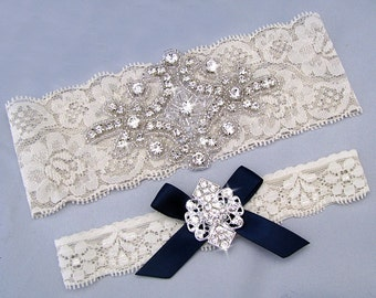 Navy Blue Wedding Garter, Ivory / White Bridal Garter Set, Something Blue Garter, Lace Garter, Crystal Rhinestone Keepsake / Toss Garters