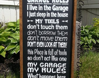 Papa's GARAGE RULES Handmade Wood Typography Sign, Garage Sign, or Shop sign, Grandpa gift, Tool sign, Handpainted Sign, Framed,  Rustic