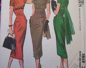 RARE VTG 1956 McCall's 3868 Tres Chic Dress Pattern sz 12 Bust 32 UNCUT