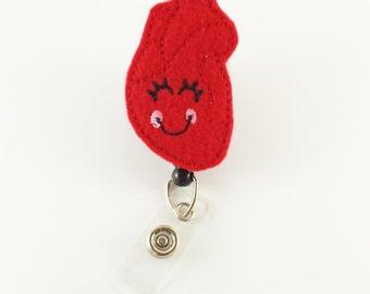 Heart - Felt Badge Reel - Retractable ID Badge - Cute Badge Reels - Medical Badge Holder - Nurse - Cardiac - RN - Badge Clip - ID Holder