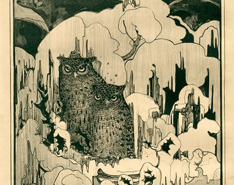 "Theo van Hoytema : ""Composite with Owls (""Night"")"" (c1874-1917) - Giclee Fine Art Print"