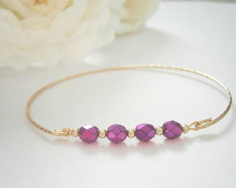 Purple Bracelet - Beaded Bar Bangle Bracelets - Czech Glass Jewelry - Minimalist Jewellery - Wire bangles - Delicate Layering Bracelet