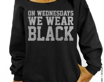 On Wednesdays We Wear Black Sweatshirt - Black with Silver Slouchy Oversized Sweatshirt