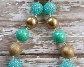 Gold and Aqua Quatrefoil Chunky Bead Necklace.. Toddler Necklace. Kid Necklace.. Kids Jewelry.. Kids Christmas Outfit... Photography Prop