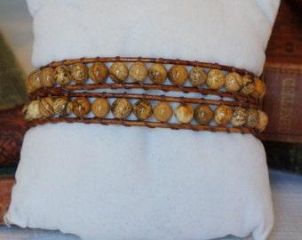 Picture Jasper wrap bracelet (MMJ1419)