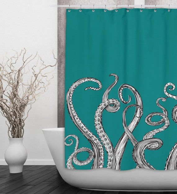 Octopus tentacle shower curtain availabe in any by inkandrags for Tentacle shower curtain