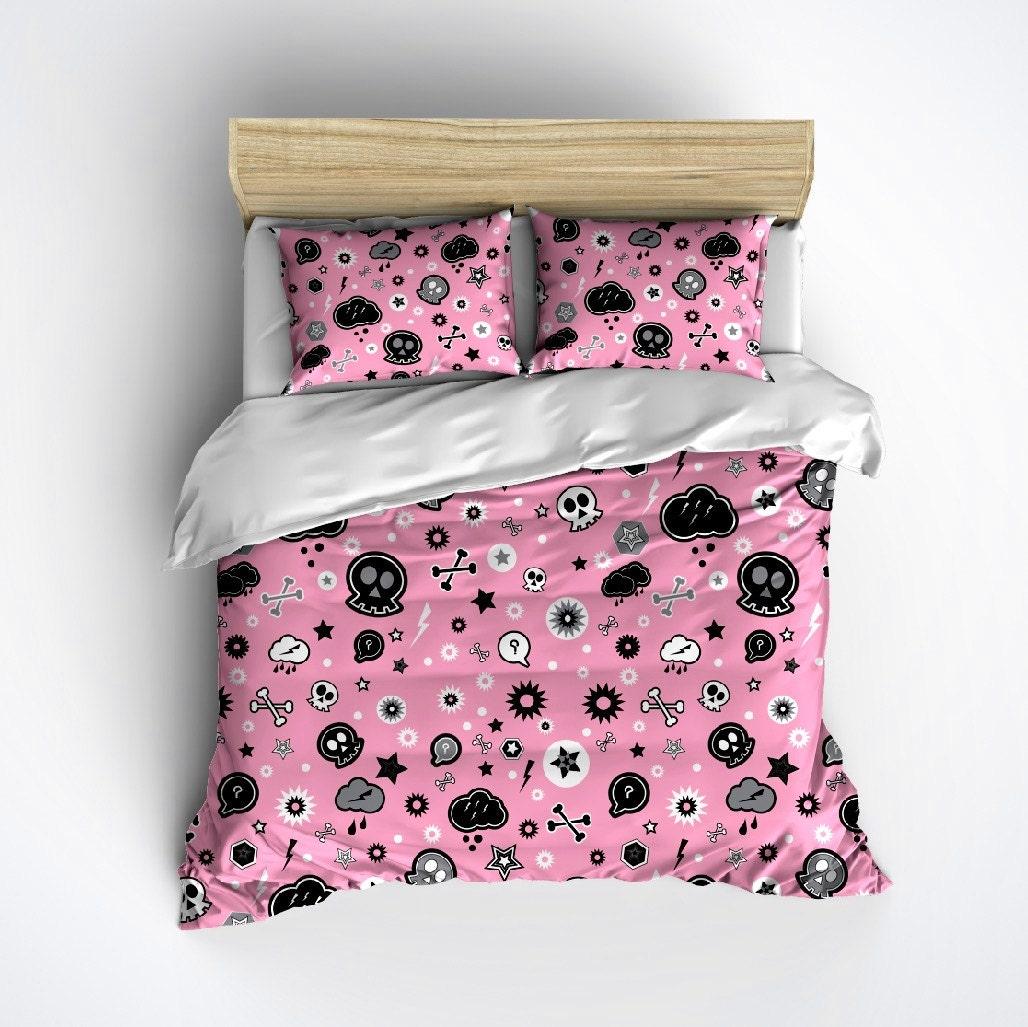 Fleece Emo Skull Bedding Pink Punk Skull Bed Set by InkandRags