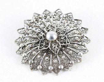 Sterling Silver Large Flower Pin Brooch