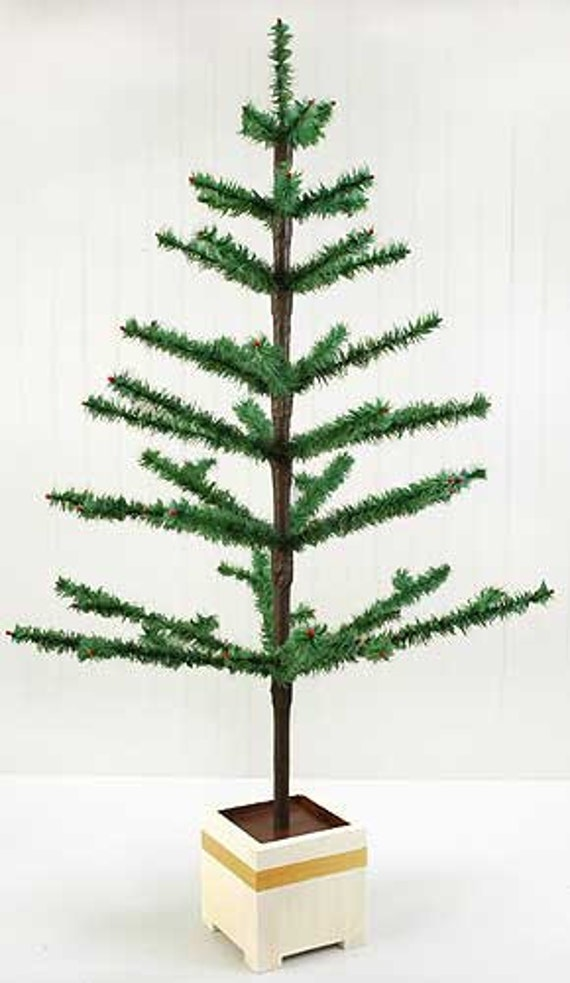 Reserved For Sandy 44 Tall Feather Tree In Antique Green