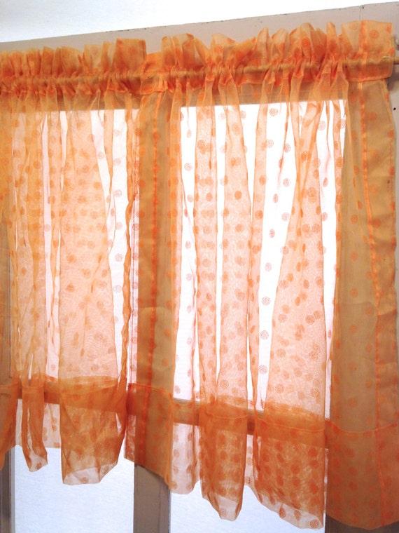 retro orange polka dot sheer curtain panels vintage cafe curtains 39