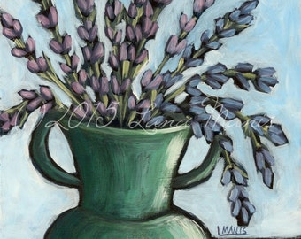 Lavender #13 - Fine Art PRINT - Bouquet in Teal Green Vase - cottage chic, whimsical, contemporary, acrylic painting, wall decor