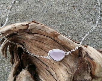 Bezel Set Necklace, Sterling Silver Chain, Faceted Stone, Light Pink
