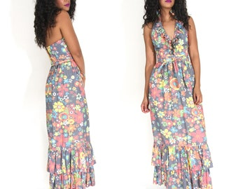 Vintage70s Floral Gingham Plunging Halter Backless Ruffle Maxi Dress Glam Festival