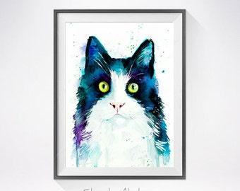 Cat watercolor painting print, Cat art, animal watercolor, animal illustration, Cat illustration, Cat poster, art print, cat art