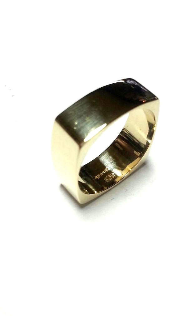 square wedding ring unique gold wedding band by