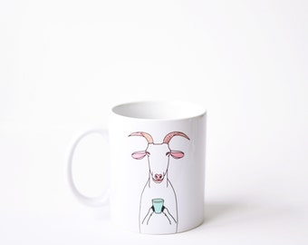 Goat mug - white 11oz coffee mug  birthday bday gift - green nanny billy goat coffee cup latte