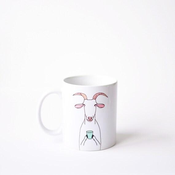 Goat mug - white 11oz coffee mug valentines day vday birthday bday gift - green nanny billy goat coffee cup latte