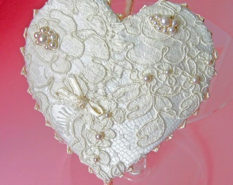 Heart headpiece - vintage-inspired, ivory lace with Swarowski pearls, and knotted ribbon edging