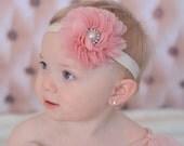 Flower Headband, Flower Clip, Vintage Baby Headband, Mauve, Pearl, Vintage Inspired Clip, Photo Prop, Newborn Headband, Girls Headband Clip